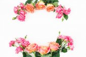 Fotografie Floral composition with pink and orange flowers. Flat lay, Top view.