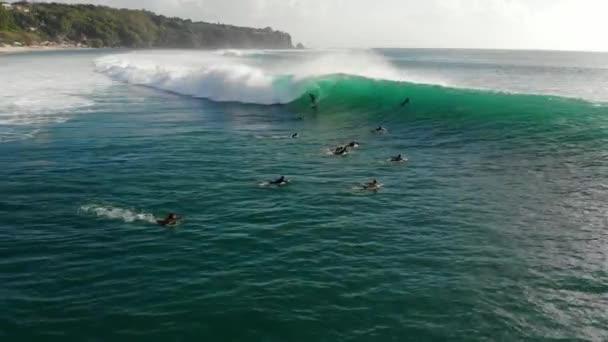 September 30, 2019. Bali, Indonesia. Surfer on a barrel ocean wave. Surfing at big waves