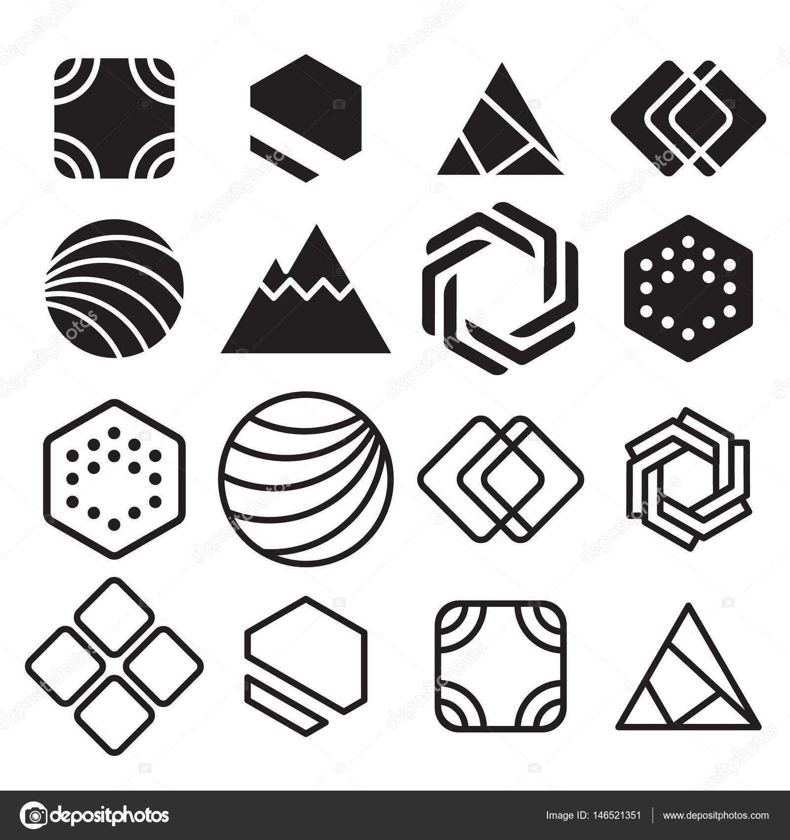 Resumen contornos geométricos, con diferentes combinaciones de ...