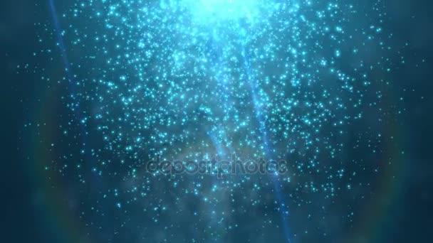 4 k modré částice na fialové pozadí s objektivem paprsky