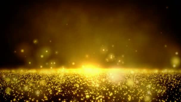 Zlaté lesklé částice s zlatým světlem a mraky. Abstraktní pozadí.