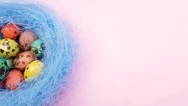 Húsvét színes fürjtojás kék fészekben lila lila háttér. Közelről