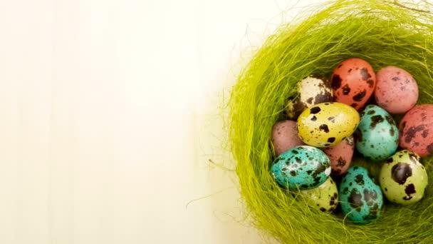 Ostereier-Farbe-Wachtel im grünen Nest auf gelbem Hintergrund Pastell