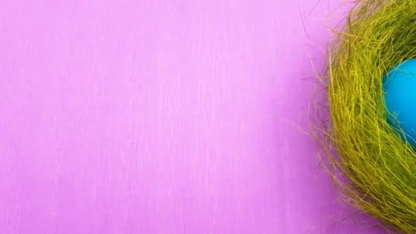 Húsvéti tojás színező zöld fészek lila háttér. Közelről.