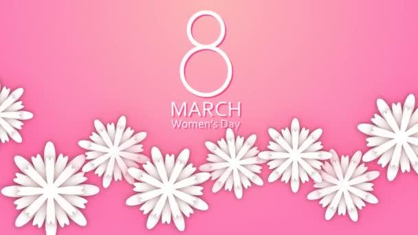 8 března žen den papíru řezané květiny na pastelově růžové pozadí.