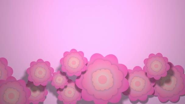 Růžové květy animationa tapety woth stíny fialové povrchu