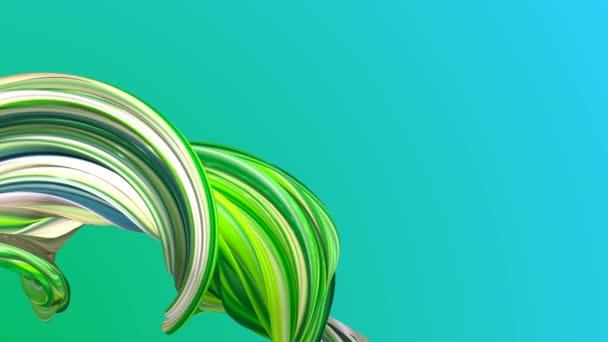 Green twisted shapes animation on fresh background.