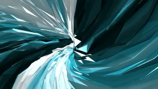 Twisted geometry triangle shapes animation. Abstract background.