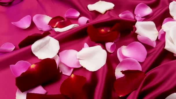 Vörös, rózsaszín és fehér rózsaszirom piros selyem közelről.