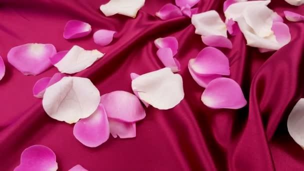 Fehér és rózsaszín, a piros selyem Rózsaszirmok közelről.