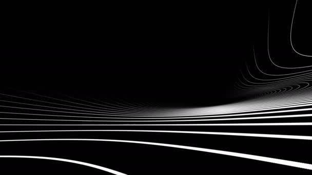 Černá a bílá abstraktní vlna linky animace