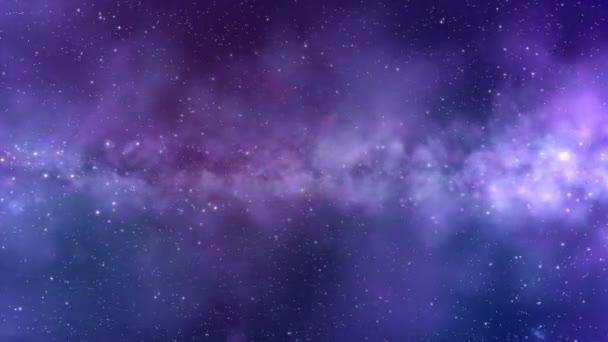 4 k animace prostoru s hvězdami a prach v barvách fialové a modré