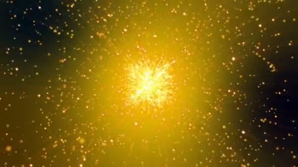 Arany csillogó explosin ragyog. Absztrakt animáció.