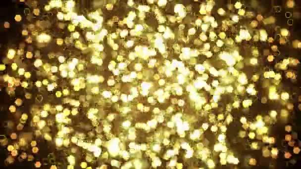 Arany csillogó hatszög ragyog a sötét háttér előtt. Absztrakt animáció.