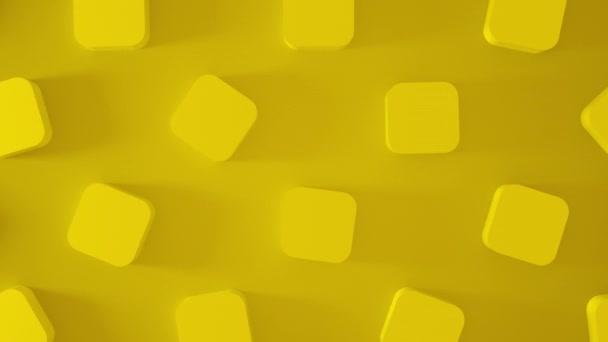 Absztrakt 3d sárga kockák forognak körbe. Animáció alakítja a hátteret. 4k renderelés felvétel. Zökkenőmentes hurok.