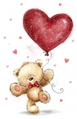 Cute bear with big red heart. Love design.Be my wife. Love heart. Love poster.