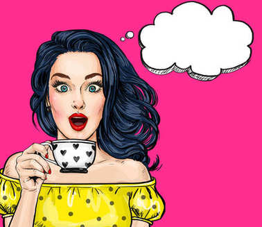 Surprised young sexy woman with open mouth with cup.Comic woman. Amazed women. Pop Art girl. love, wow, wake up, lifestyle, style, model, sexy, flirt, disco girl, naive, romantic, look, cappuccino