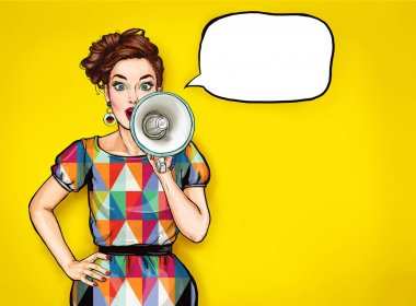 Pop art girl with megaphone. Woman with loudspeaker. Advertising poster with lady announcing discount or sale.