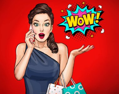 Amazed young sexy woman with open mouth in comic style.  Pop Art girl with phone and shooing bags saying wow.  Advertising poster with surprised magazine cover female model.