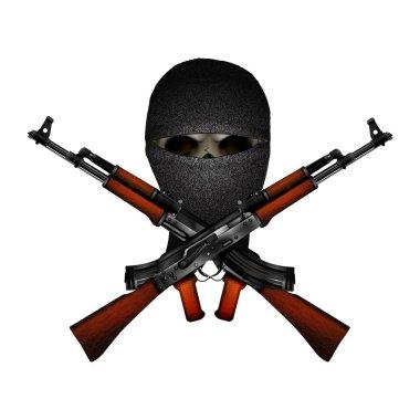 skull mask and machine guns Kalashnikov