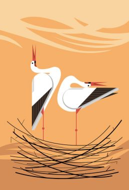 Love song of storks in the nest, minimalistic image stock vector