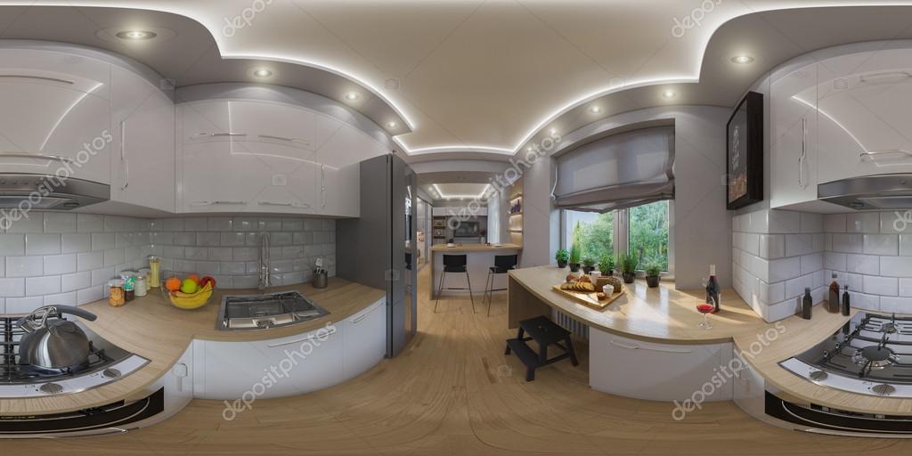 3d Illustration Spherical 360 Degrees Seamless Panorama Of Living Room Interior Design Modern Studio Apartment In The Scandinavian Minimalist Style