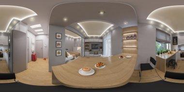 3d rendering spherical 360 degrees, seamless panorama of  living room