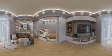 3d rendering spherical 360 degrees, seamless panorama of  living