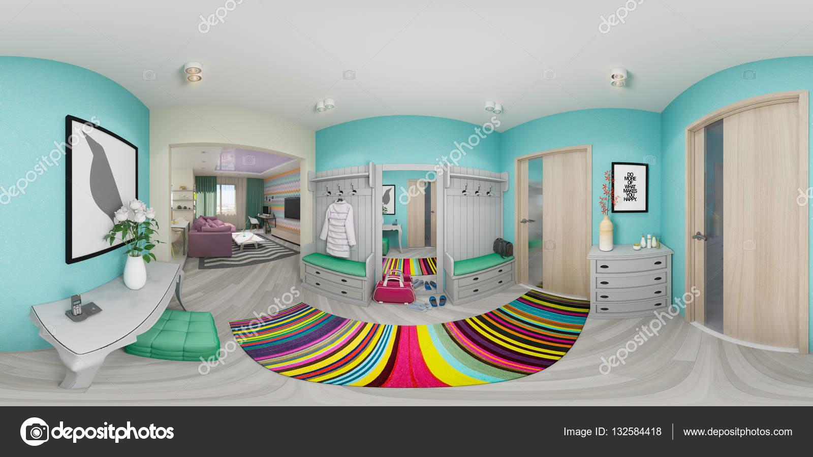 3D Rendering Halle Innenarchitektur — Stockfoto © Richman21 #132584418