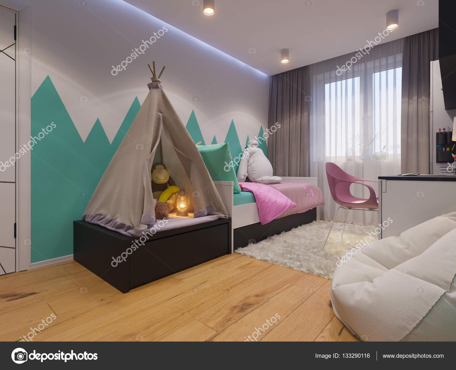 3d illustratie van interieur design kinderkamer voor een klein meisje foto van richman21