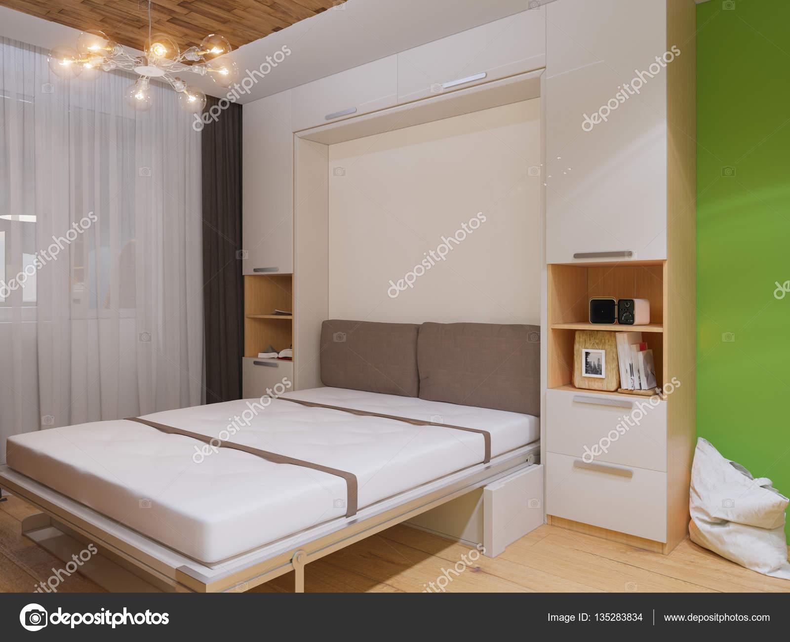 3d illustration av inredning vardagsrum med s ng garderob for Wohnzimmerschrank mit bettfunktion