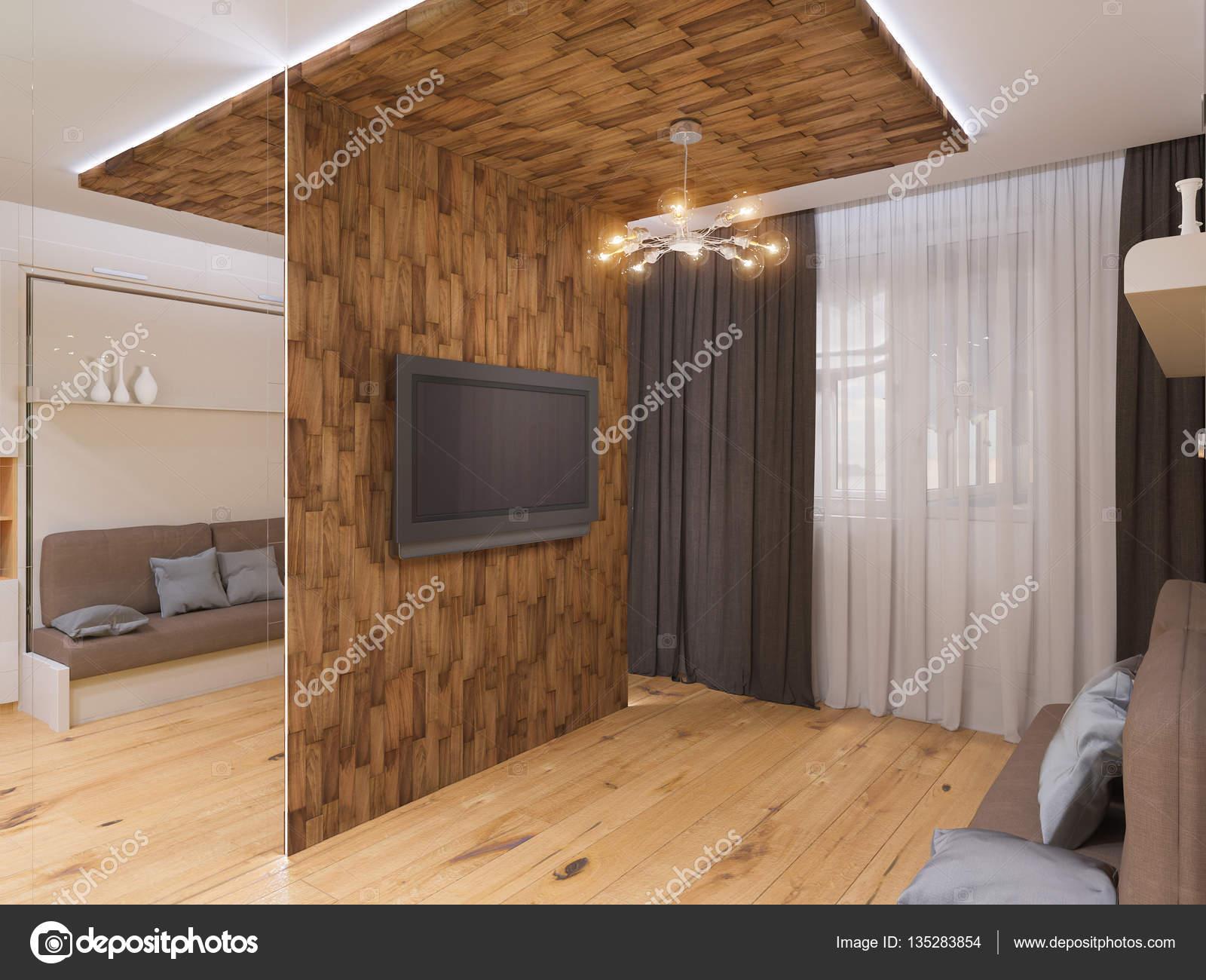 Kledingkast In Woonkamer.3d Illustratie Van Interieur Design Woonkamer Met Bed Kledingkast