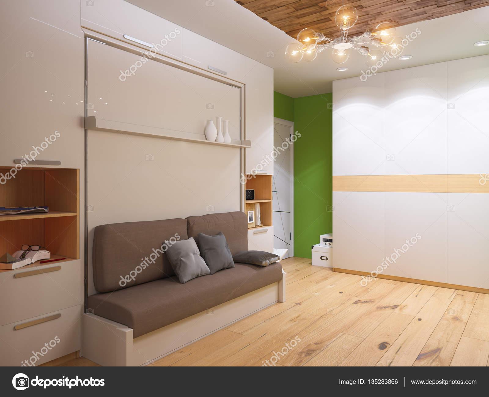 3D Darstellung der Innenarchitektur Wohnzimmer mit Bett Schrank ...
