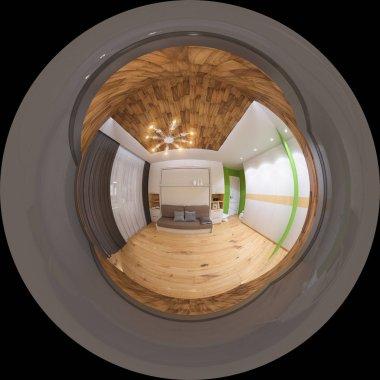 3d illustration spherical 360 degrees, seamless panorama of livi