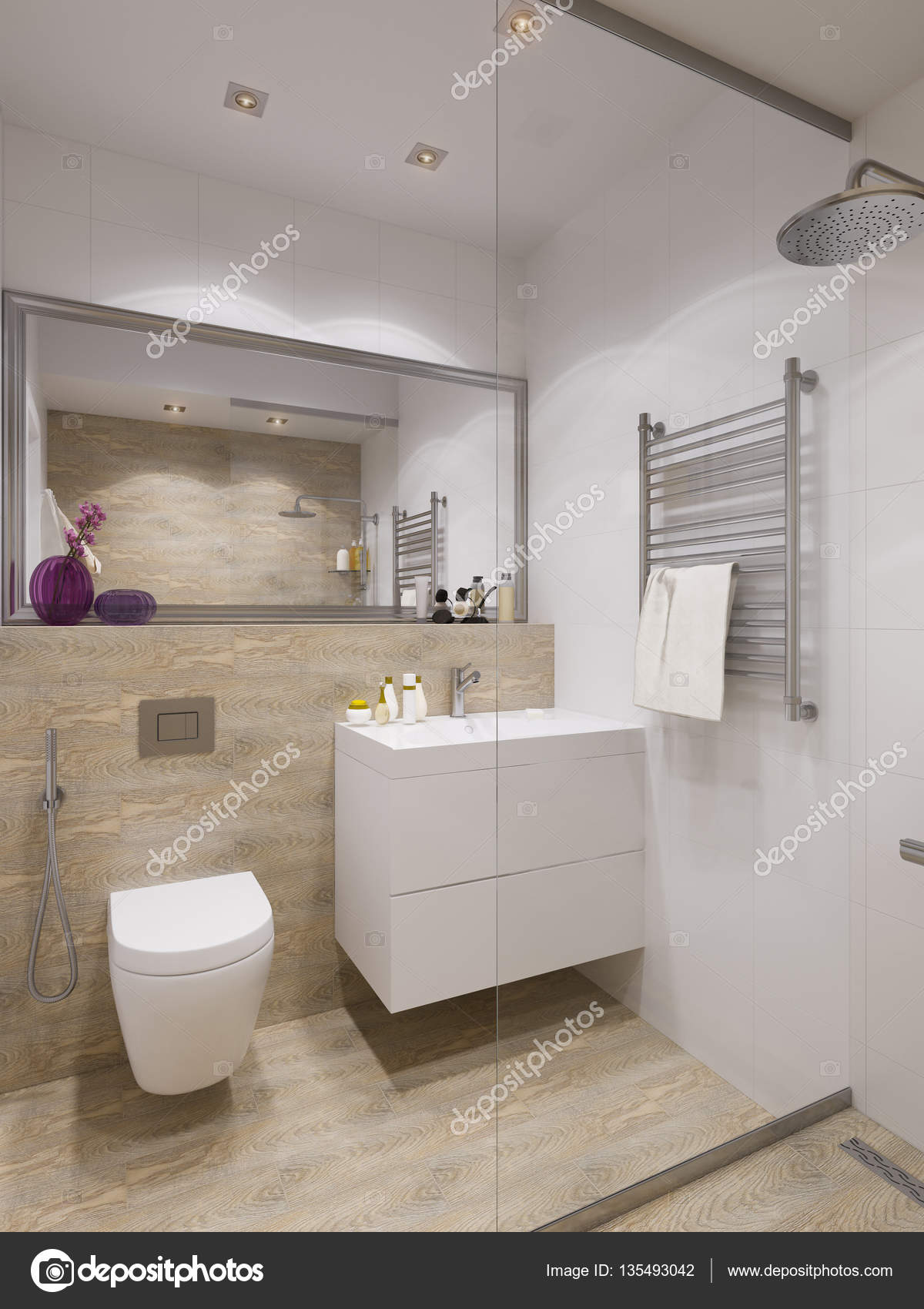 3d Illustration Of Interior Design Bathroom With A Tile Woodgrain Photo By Richman21
