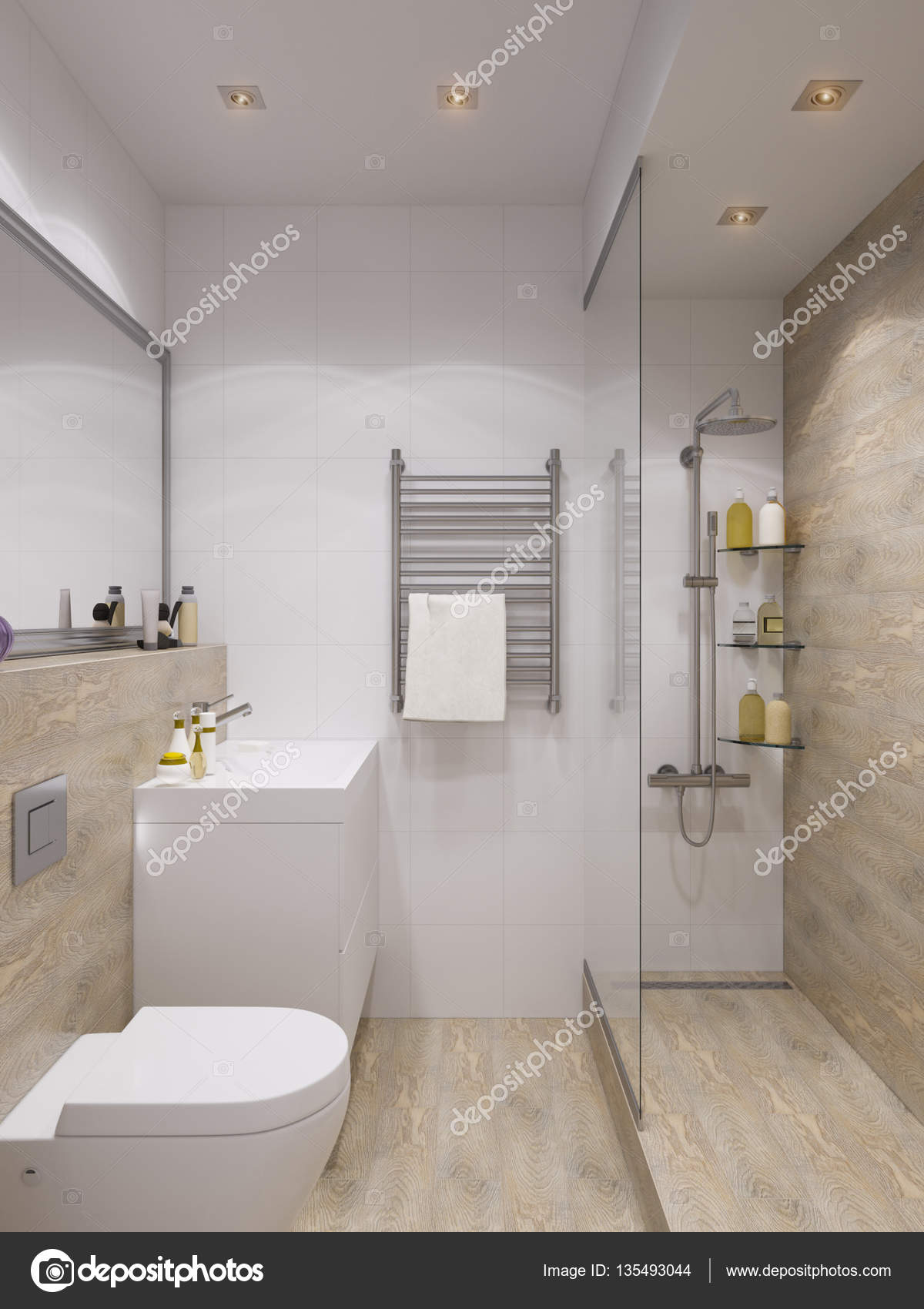 Baño diseño de interiores | render 3D diseño de interiores, cuarto ...
