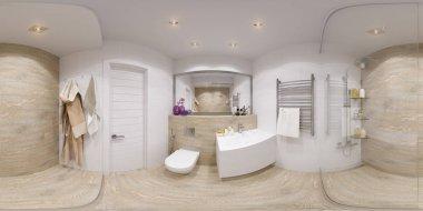 3D Spherical 360 degrees, seamless panorama of bathroom interior