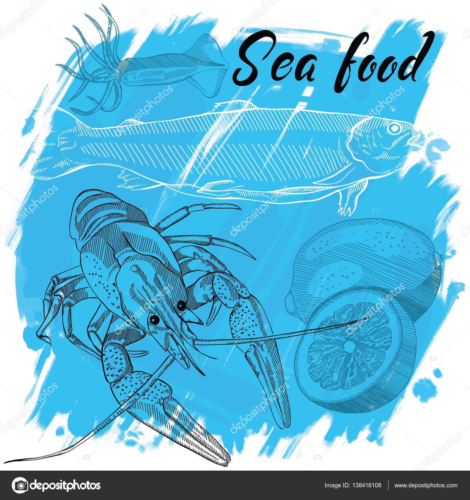Vector Illustration Meeresfrüchte-Restaurant-Menü — Stockvektor ...