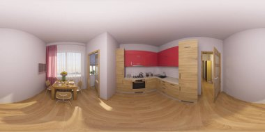 3d illustration 360 degrees panorama of a kitchen interior
