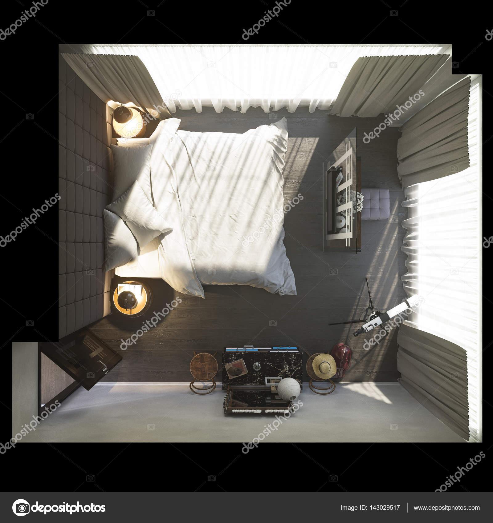 3D Darstellung der Schlafzimmer-Innenarchitektur — Stockfoto ...
