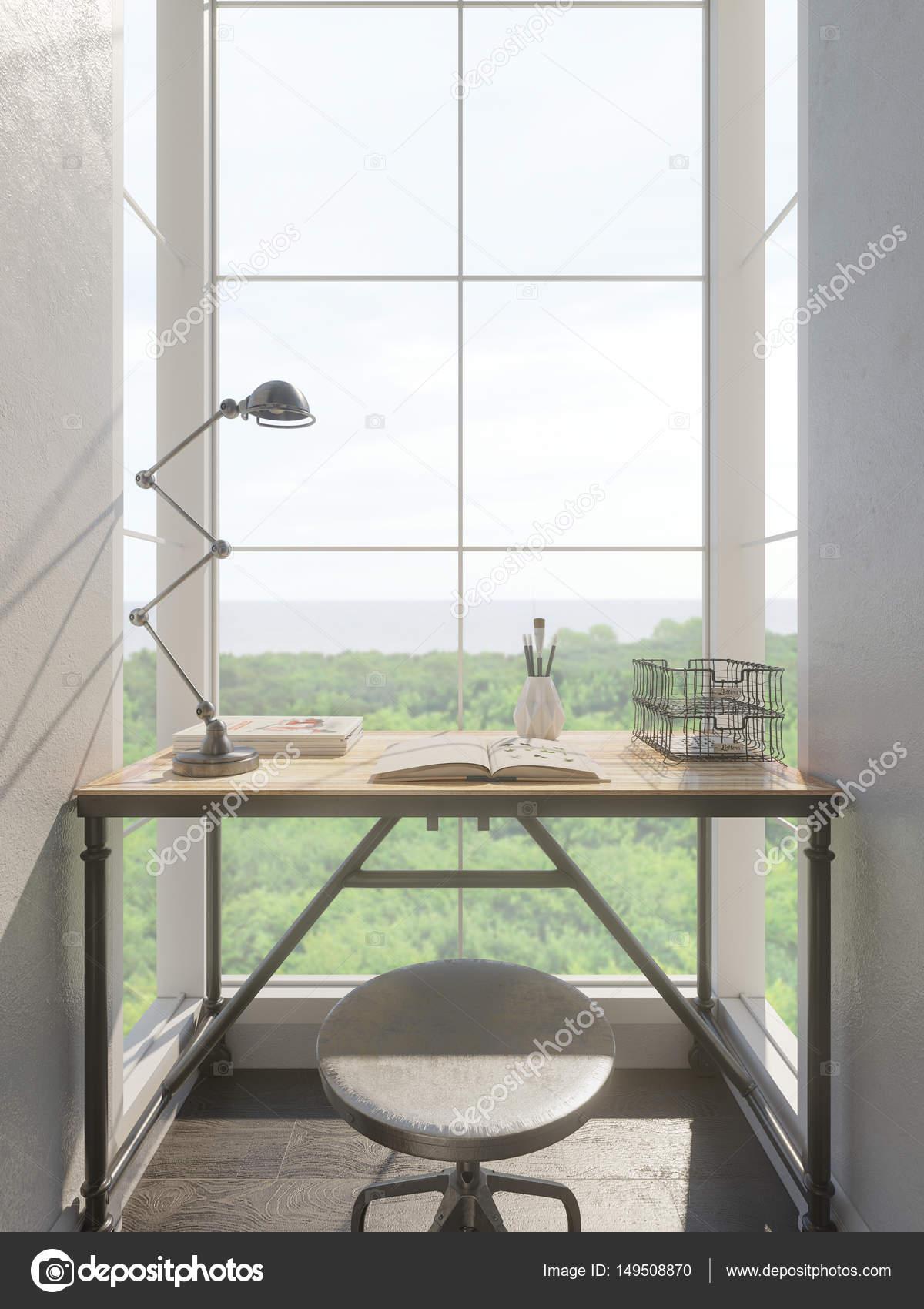 3D Rendering der Innenarchitektur für ein kleines Büro — Stockfoto ...
