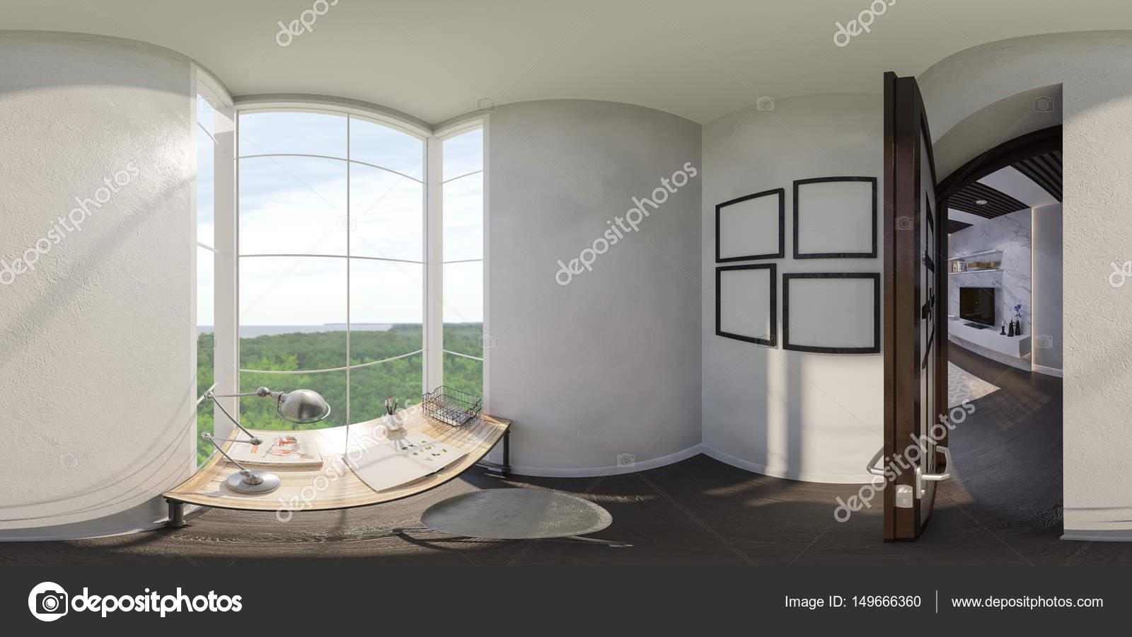 Illustration 3D De Lu0027aménagement Intérieur De La Maison Petit Bureau. Le  Style De Lu0027appartement Est Modern Dans Les Couleurs Gris Et Blancs.