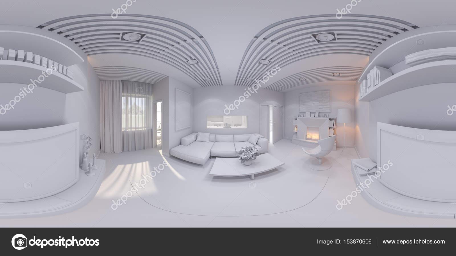 360 Rendern Panorama Innenarchitektur Wohnzimmer — Stockfoto ...