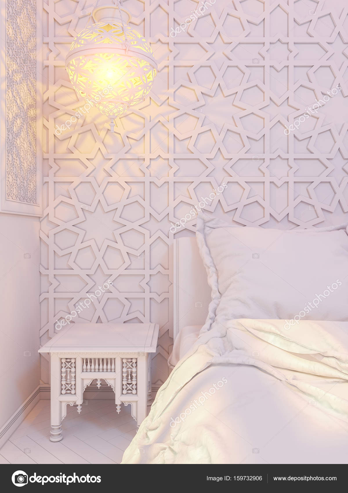 3d Illustration Bedroom Interior Design Of A Hotel Room In Traditional Islamic Style Deluxe Background View Decorated With Arabian Motifs