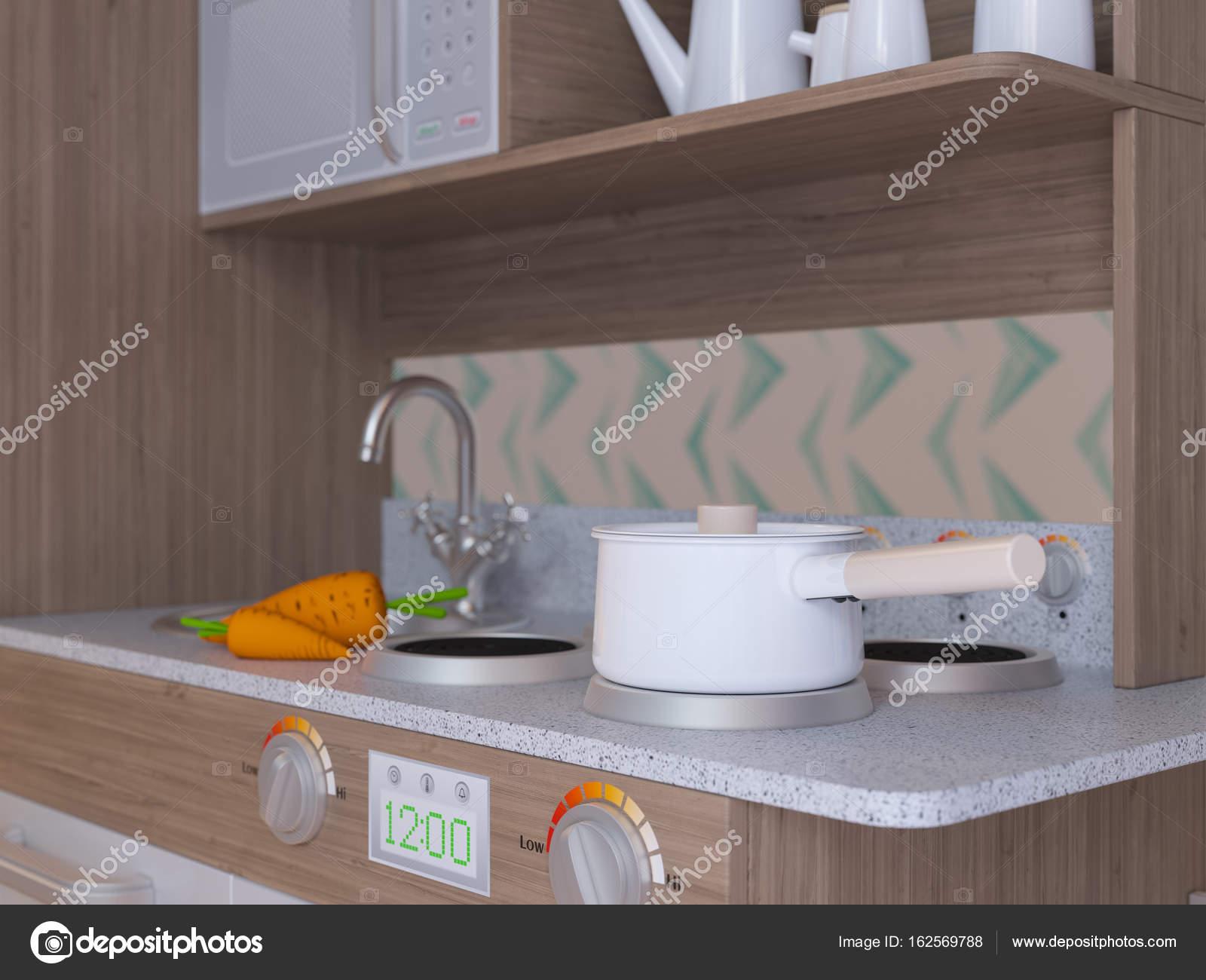 Juego los niños cocina diseño interior con accesorios — Fotos de ...