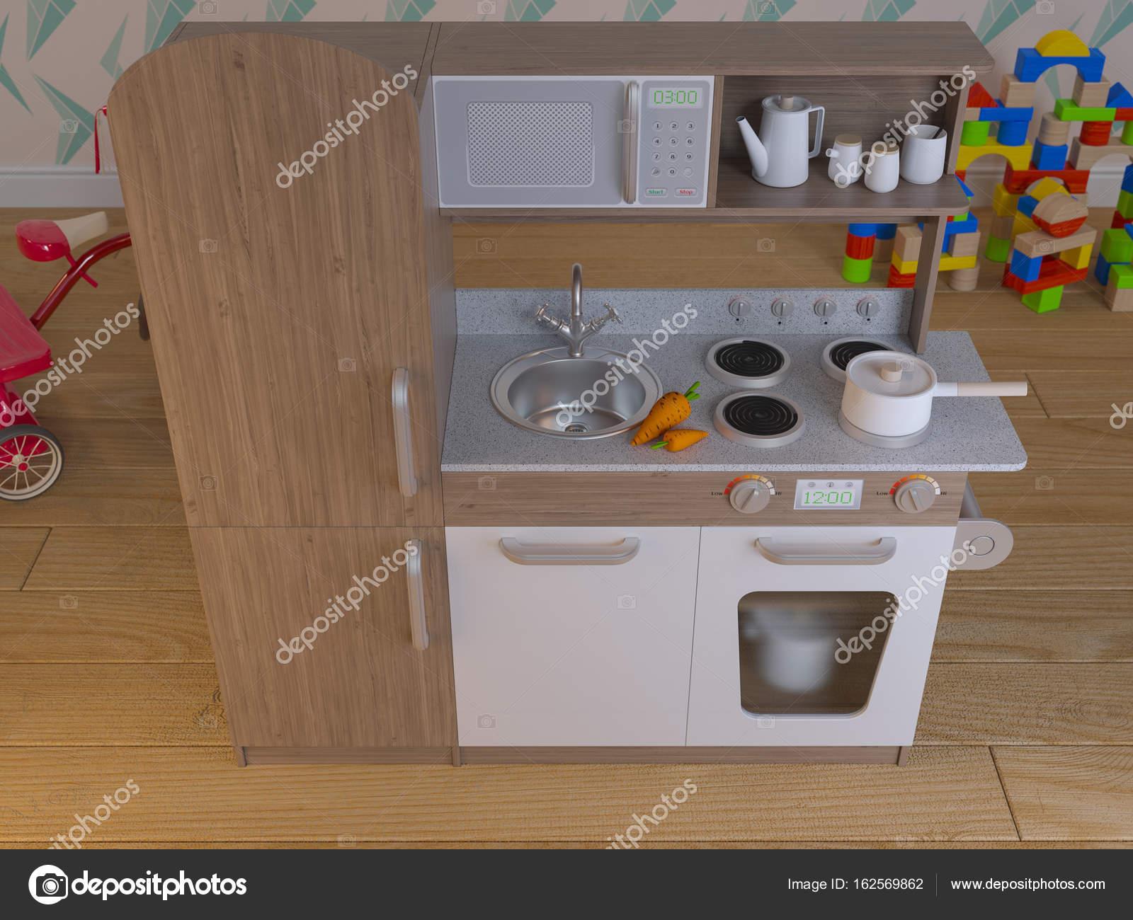 Juego los niños cocina diseño interior con accesorios — Foto de ...