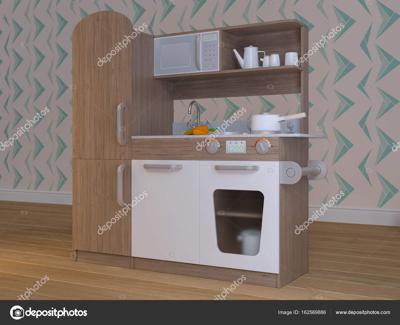 Juego los niños cocina diseño interior con accesorios — Foto ...