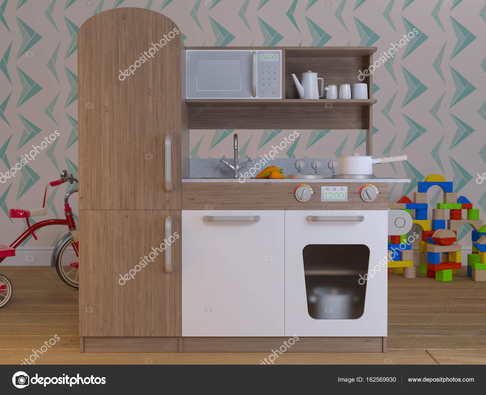Juego los niños cocina diseño interior con accesorios ...