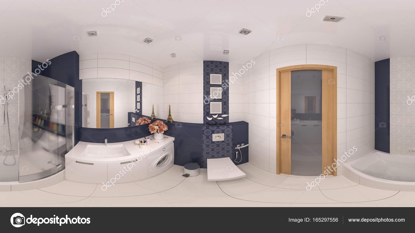 360 panorama cuarto de baño de diseño de interiores — Fotos ...