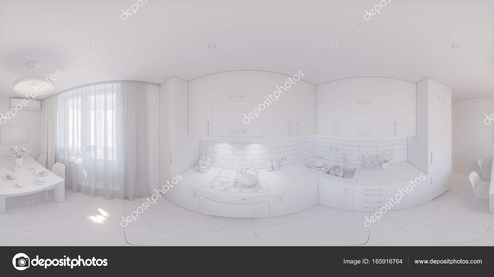 panorama 360 de cocina diseño — Foto de stock © Richman21 #165916764